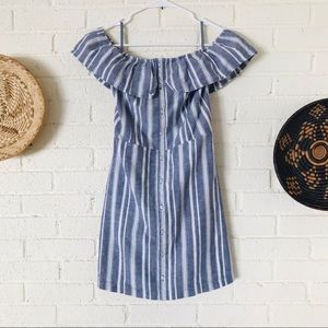 Hollister Chambray Stripe Off Shoulder Dress